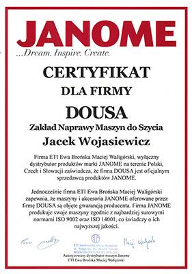 Certyfikat Janome